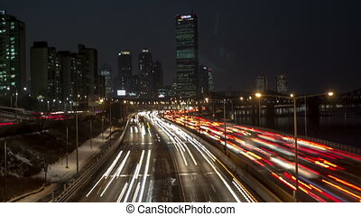Seoul City 152 - 152) Time lapse of traffic and architecture...