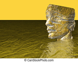 Head of man in water