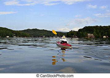 donna,  kayaking, lago