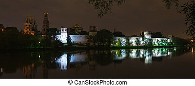 Novodevichy convent - Novodevichy Convent in Moscow at night...