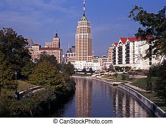View along Riverwalk, San Antonio - Viw along the Riverwalk,...