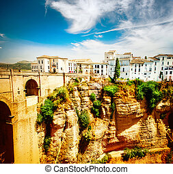 Ronda, Spain Panoramic view of the old city of Ronda at...
