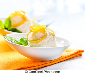 Ice Cream. Homemade Lemon Icecream Dessert