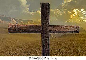 el, cruz, fin, dos, clavos