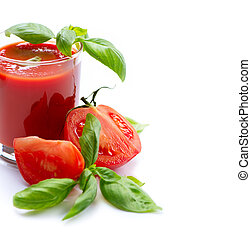 Tomato Juice and Fresh Tomatoes isolated on a White...
