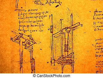 Engineering drawing - Leonardo's Da Vinci engineering...