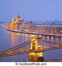 cityscape of Budapest at night - cityscape of Budapest at...