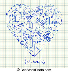 Maths drawings in heart shape - Illustration of maths...