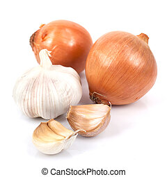 Onion and garlic - Onion and garlic clove isolated on white...