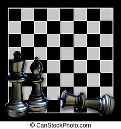 Chess Board Graphic/Illustration - Chess board with pieces,...