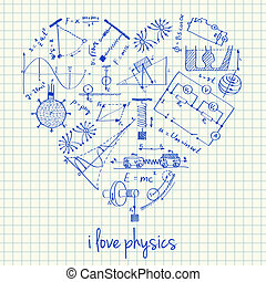 Physics drawings in heart shape - Illustration of physics...