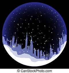 Vector Snowball with London silhouette