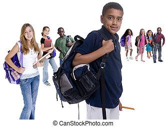 escola, crianças, Diversidade