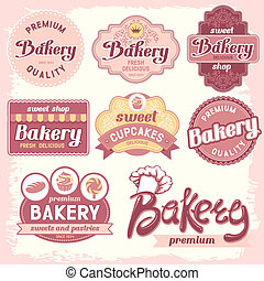 bakery labels - Vintage bakery badges and labels