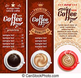 Coffee labels - Set of three coffee design templates....