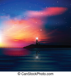 abstract background with lighthouse - abstract sea...
