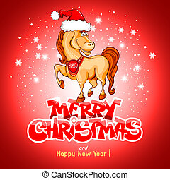 Merry Christmas card with funny horse (symbol of 2014 year)