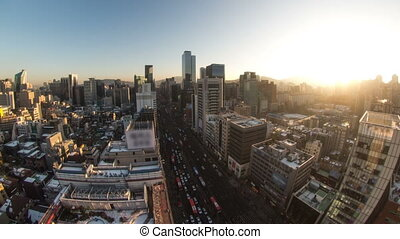 Seoul City 156 - 156) Time lapse of traffic and architecture...