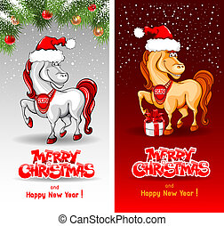 Merry Christmas card with funny horse symbol of 2014 year