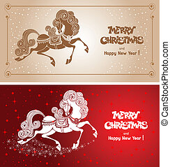 Merry Christmas card with fairy horse symbol of 2014 year