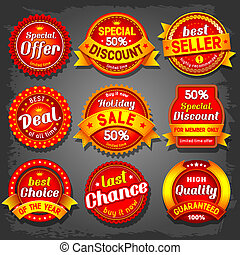 Sale labels - Set of  luxury vector sale labels.