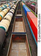 many empty wagons