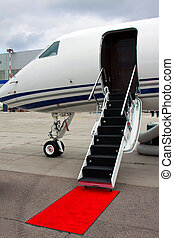 ladder in a private jet - lowered ladder of a small private...