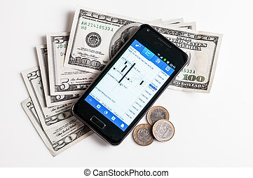 forex trading by mobile phone and money on white background