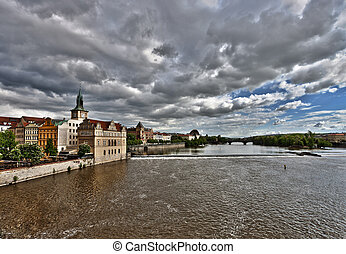 Prague Vltava Czech Republic View from Charles Bridge