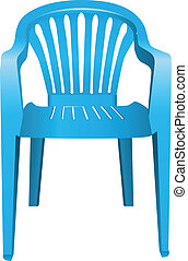 Plastic chair - The chair is made of blue plastic. Vector...