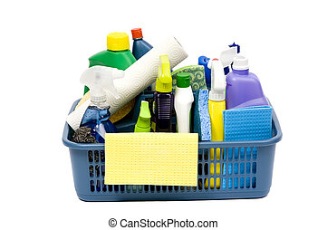 Cleaning Supplies - A full bucket of cleaning supplies. The...