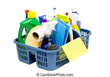 Cleaning Supplies - A full bucket of cleaning supplies The...