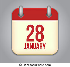 Vector calendar app icon. 28 January