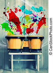 Drums - Photo of bongo drums with wooden background
