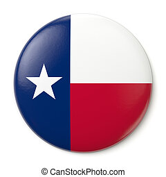 Texas Pin-back - A pin button with the flag of the States of...