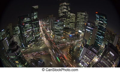 Seoul City 167 - 167) Time lapse of traffic and architecture...