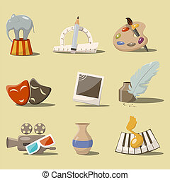 Art icons - Vector cartoon style set with art icons