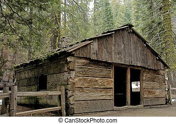 log cabin - Old Log cabin in Sequoia National Park,...