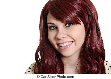 happy red head teen headshot - isolated happy red head teen...
