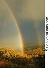 dobro, arco íris, bonito, colinas, paisagem, Tuscany,...