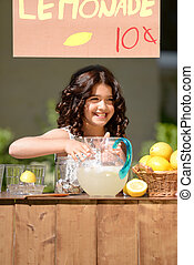 little girl lemonade stand - happy little girl lemonade...