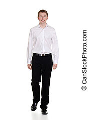 teen boy wearing casual clothing on white background