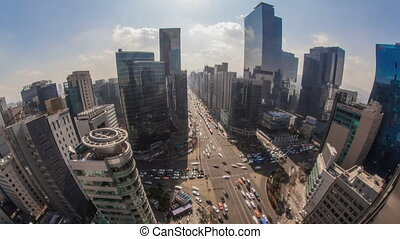 Seoul City 172 - 172) Time lapse of traffic and architecture...