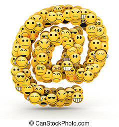 Emoticons At symbol - At e-mail symbol compiled from...
