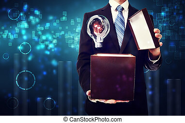 Business man opening box full of ideas
