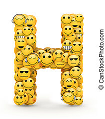 Emoticons letter H - Letter H compiled from Emoticons smiles...