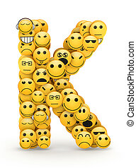 Emoticons letter K - Letter K compiled from Emoticons smiles...