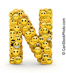 Emoticons letter N - Letter N compiled from Emoticons smiles...