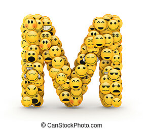 Emoticons letter M - Letter M compiled from Emoticons smiles...