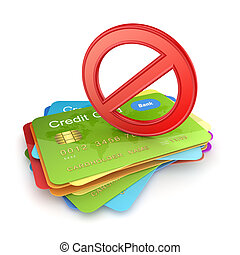 Red symbol of ban on colorful credit cards.Isolated on...